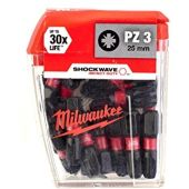 Milwaukee 4932430869 Shockwave 25 x PZ3 25mm Screwdriver Bits